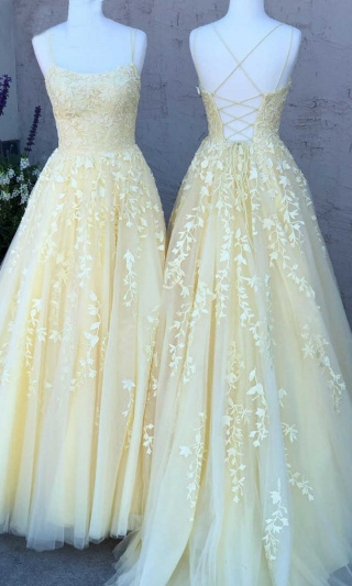 Happyprom: Light Yellow Prom Dresses Strings with Straps KSP563