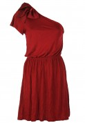Pull and Bear: Rochie Pull and Bear Ballerina Dark Red