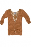 Pulovere Pull and Bear: Cardigan maro cu broderie