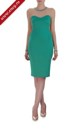 Rochie turquoise din tull si jerse