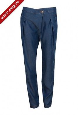 Pantaloni denim din bumbac model 2598