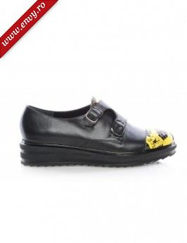 Pantofi negri cu platforma Double Monk Yellow Snake, The 5th Element